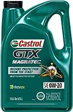 Castrol 03060 GTX MAGNATEC 0W-20 Full Synthetic Motor Oil, Green, 5