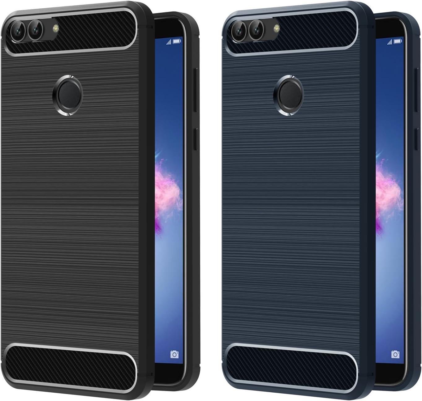 ivoler [2 Unidades] Funda para Huawei P Smart, Diseño de Fibra de Carbon Ultra Fina TPU Silicona Carcasa Fundas Protectora con Shock- Absorción (Negro+Azul): Amazon.es: Electrónica