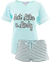 Love Loungewear Juniors Novelty Striped Shorty Pajamas