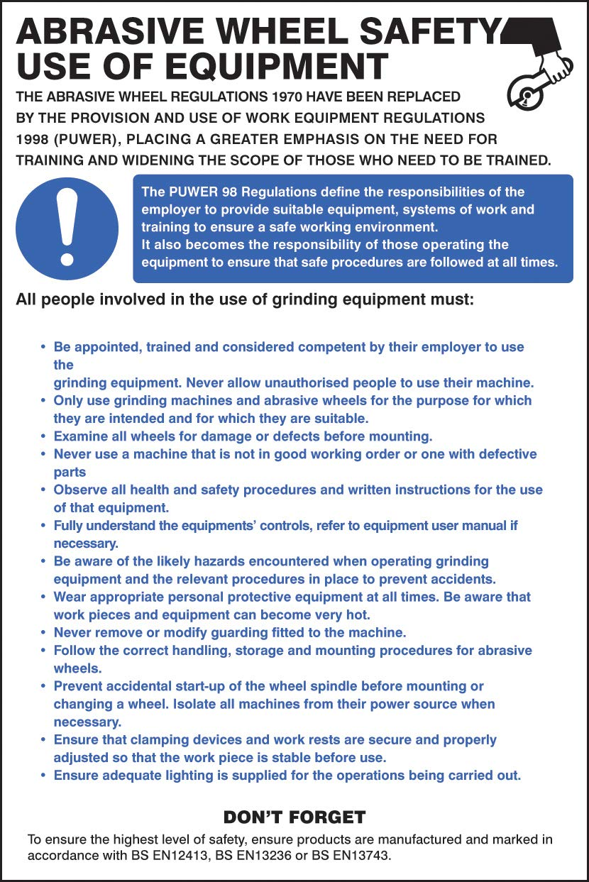 Posters and Information - Abrasive wheel regulations poster - Rigid Plastic iSigns