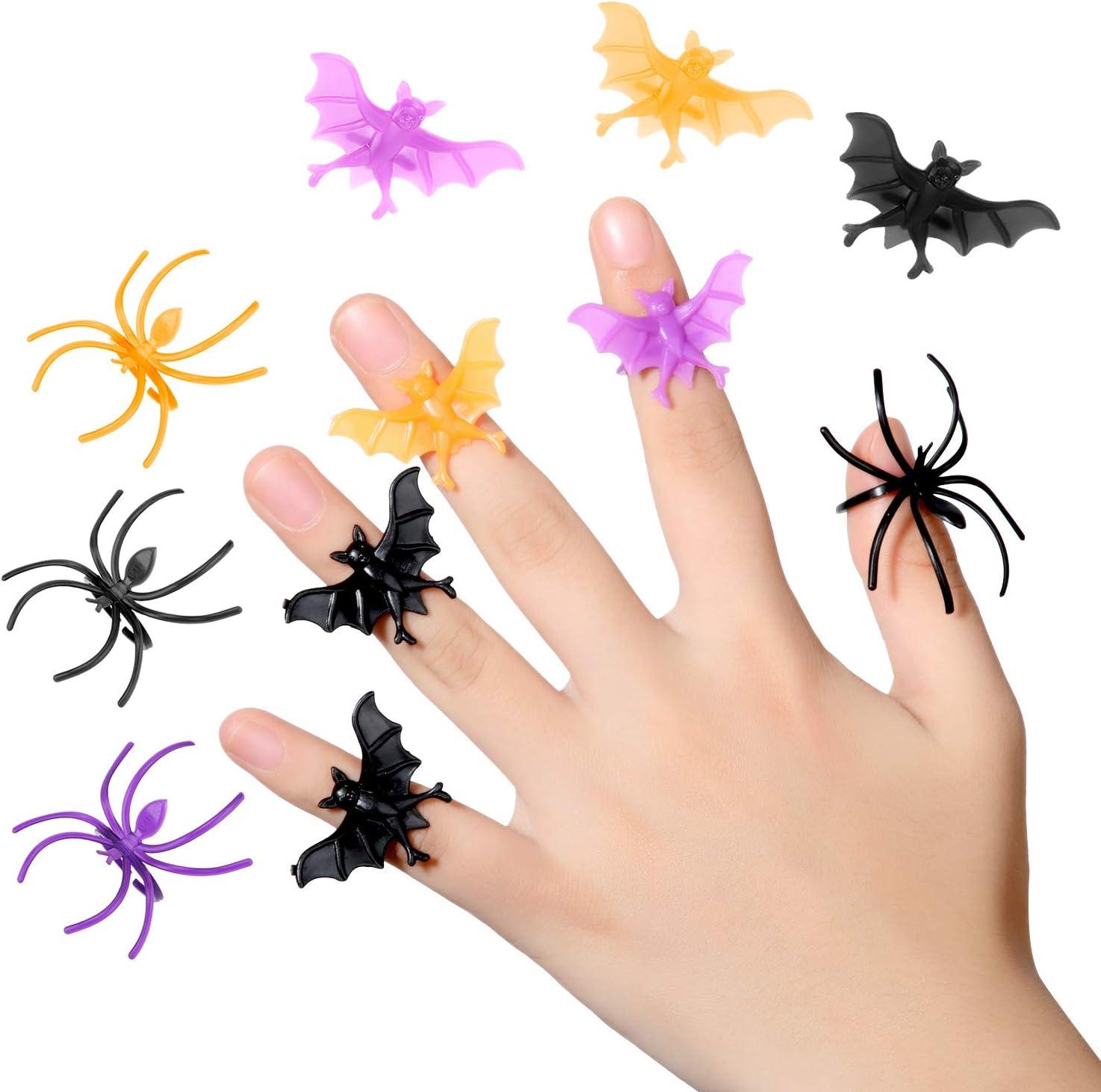 Boao 144 Pieces Halloween Spider Rings Plastic Bat Rings Halloween Trick or Treat Rings for Kids Adults Halloween Favor 3 Colors
