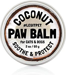 LEGITPET Dog Paw Balm Wax Soother & Moisturizer Cream with Natural Food-Grade Coconut Oil, Organic Shea Butter & Beeswax - 2 oz - Healing Protector for Cracked Dog Paws, Snout & Elbows