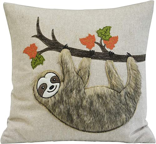 Comfy Hour Harvest Fur Sloth Accent Pillow Throw Pillow Decorative Cushion, 18 x18