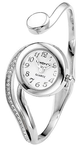 Top Plaza Women Casual Elegant Silver Tone Small Dial Bangle Cuff Bracelet  Dress Analog Quartz Watch 994ea81a5149