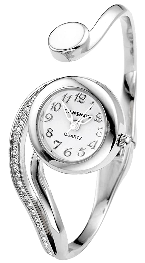 Top Plaza Women Casual Elegant Silver Tone Small Dial Bangle Cuff Bracelet Dress Analog Quartz Watch 6'',Thanksgiving Christmas Gift