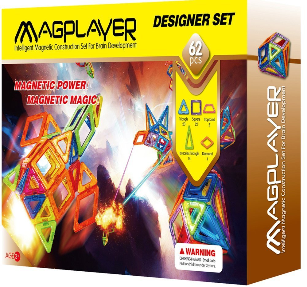 MAGPLAYER 3D Magnetic Toys, Box of Intelligent Magnetic Construction Set for Brain Development, 62 Piece