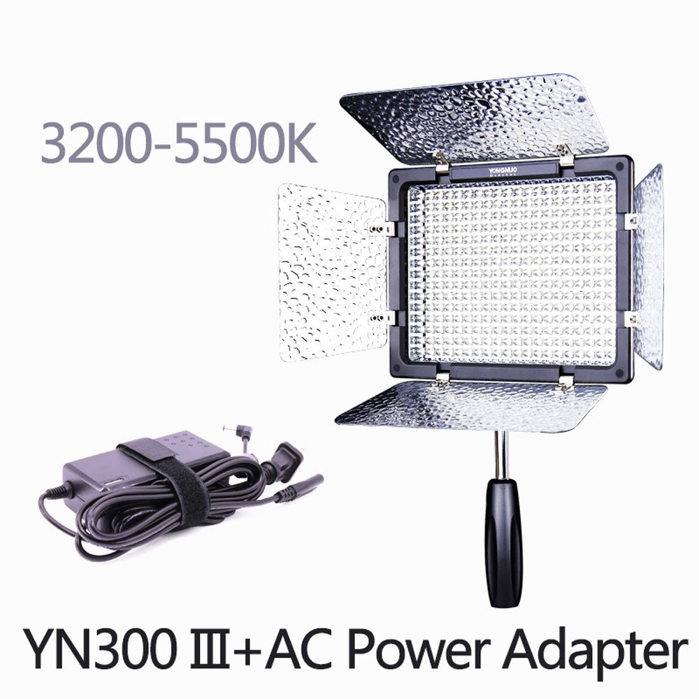 YONGNUO YN300 III 3200K-5500K with AC Power Adapter Kit,On Camera Video Light Photographic Continuous Output Lighting