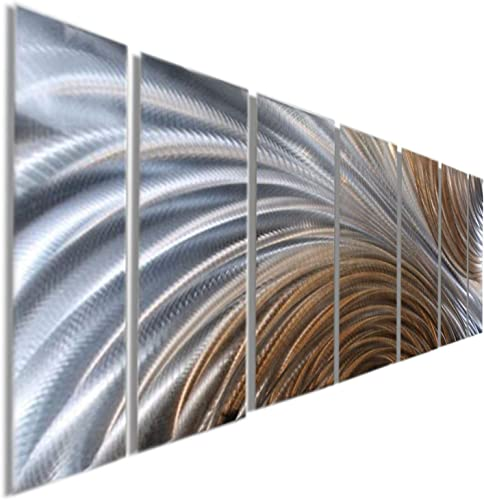 Over-Sized Copper Silver Modern Abstract Panel Metal Wall Art – Hand-Painted Home Decor Home Accent – Amber Ascension XL by Jon Allen