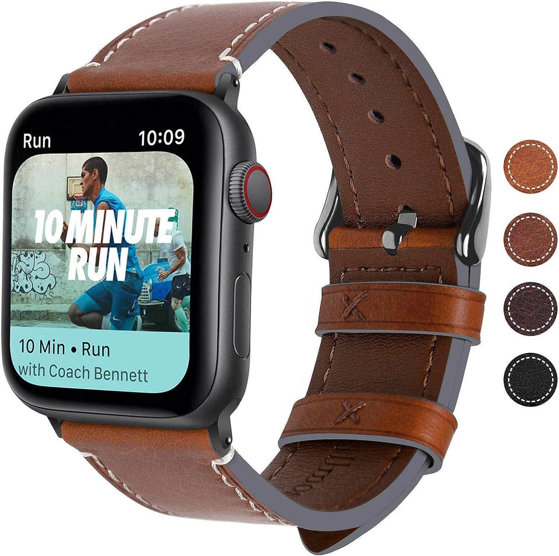 Fullmosa Correa Apple Watch Series 5/4/3/2/1, 4 Colores, Vintage Pulsera de Cuero Reemplazo de Apple Watch para Mujeres Hombres, Marrón Oscuro + Hebilla Gris Ahumado, 42mm/44mm