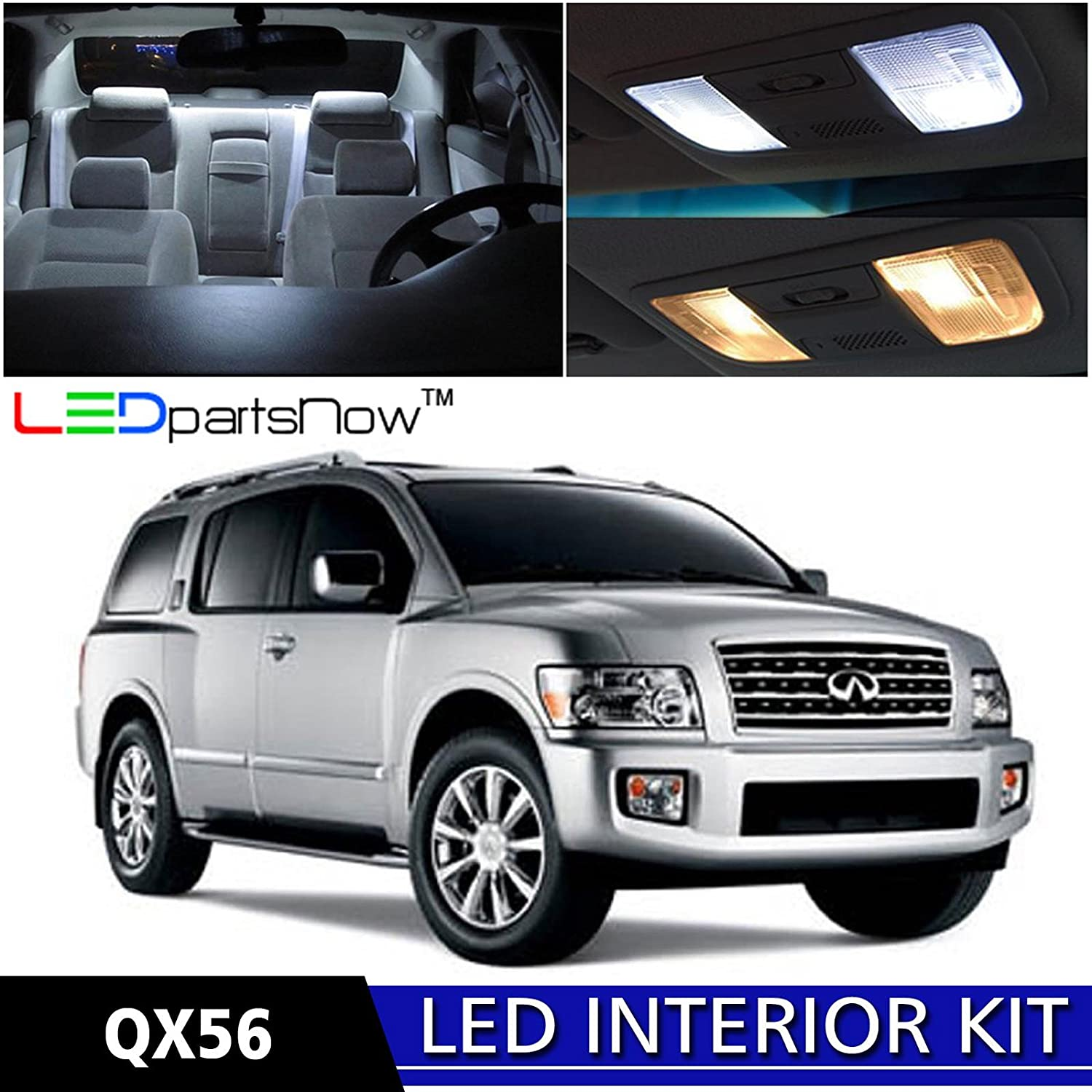 Amazon ledpartsnow 2004 2010 infiniti qx56 led interior amazon ledpartsnow 2004 2010 infiniti qx56 led interior lights accessories replacement package kit 13 pieces white automotive vanachro Choice Image