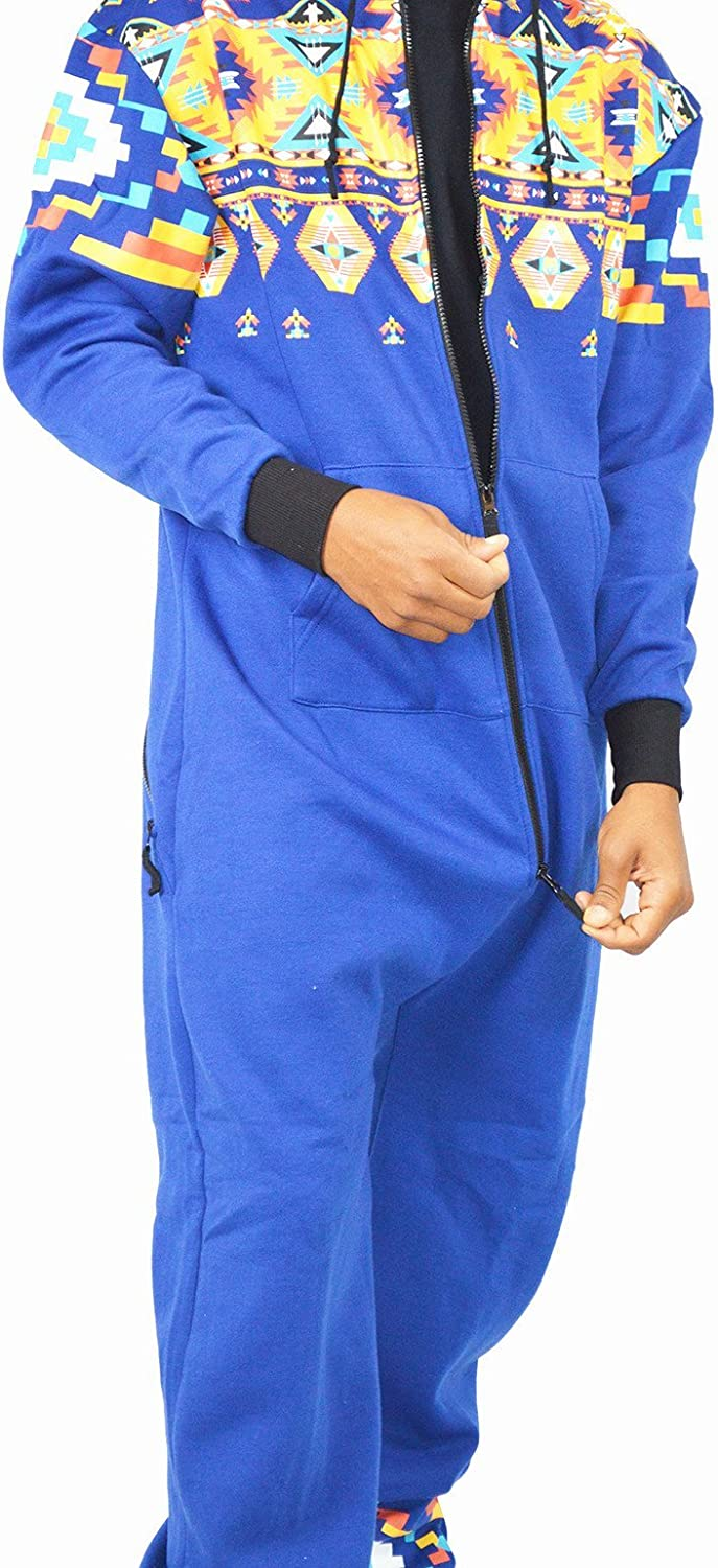 Blue Hooded Onesie Jumpsuit with Zippered Drop Seat Bottom Medium