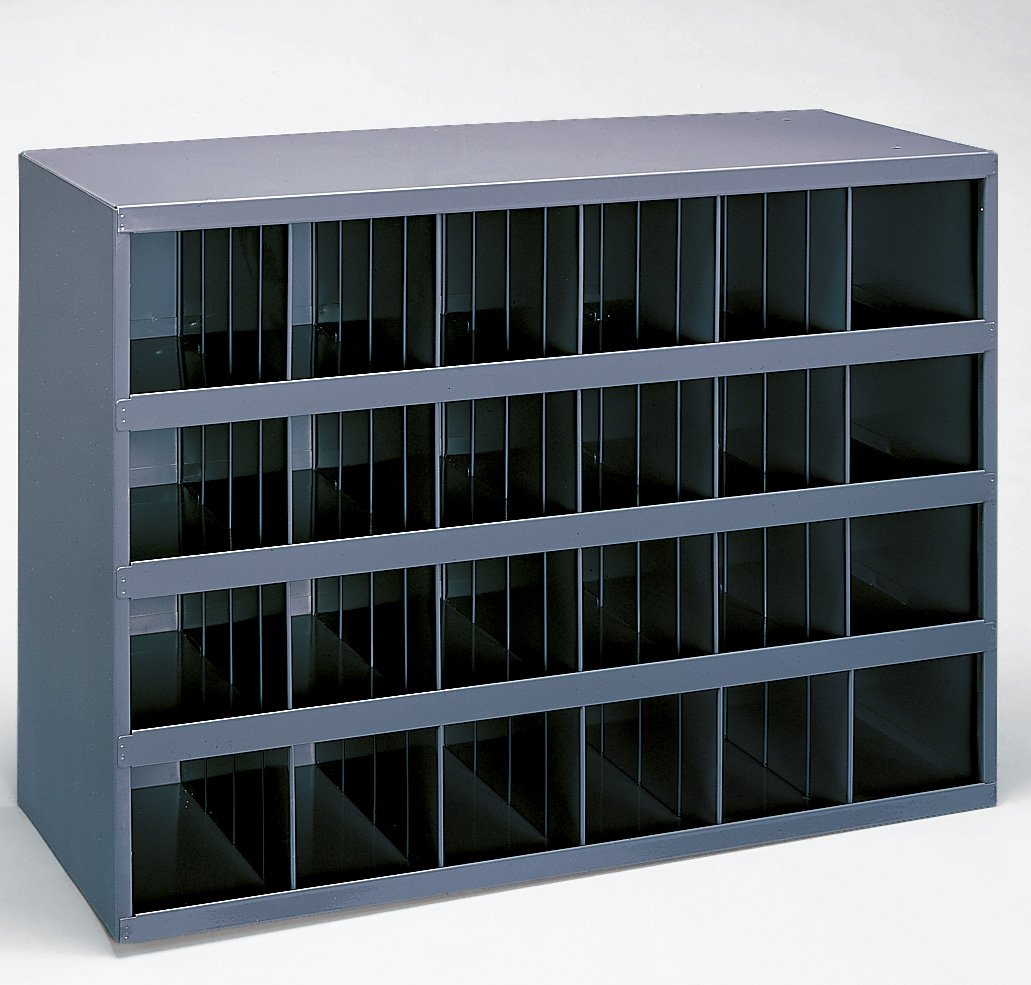 Durham 356-95 Gray Cold Rolled Steel 24 Opening Bin with Slope Self Design, 33-3/4'' Width x 23-7/8'' Height x 12'' Depth