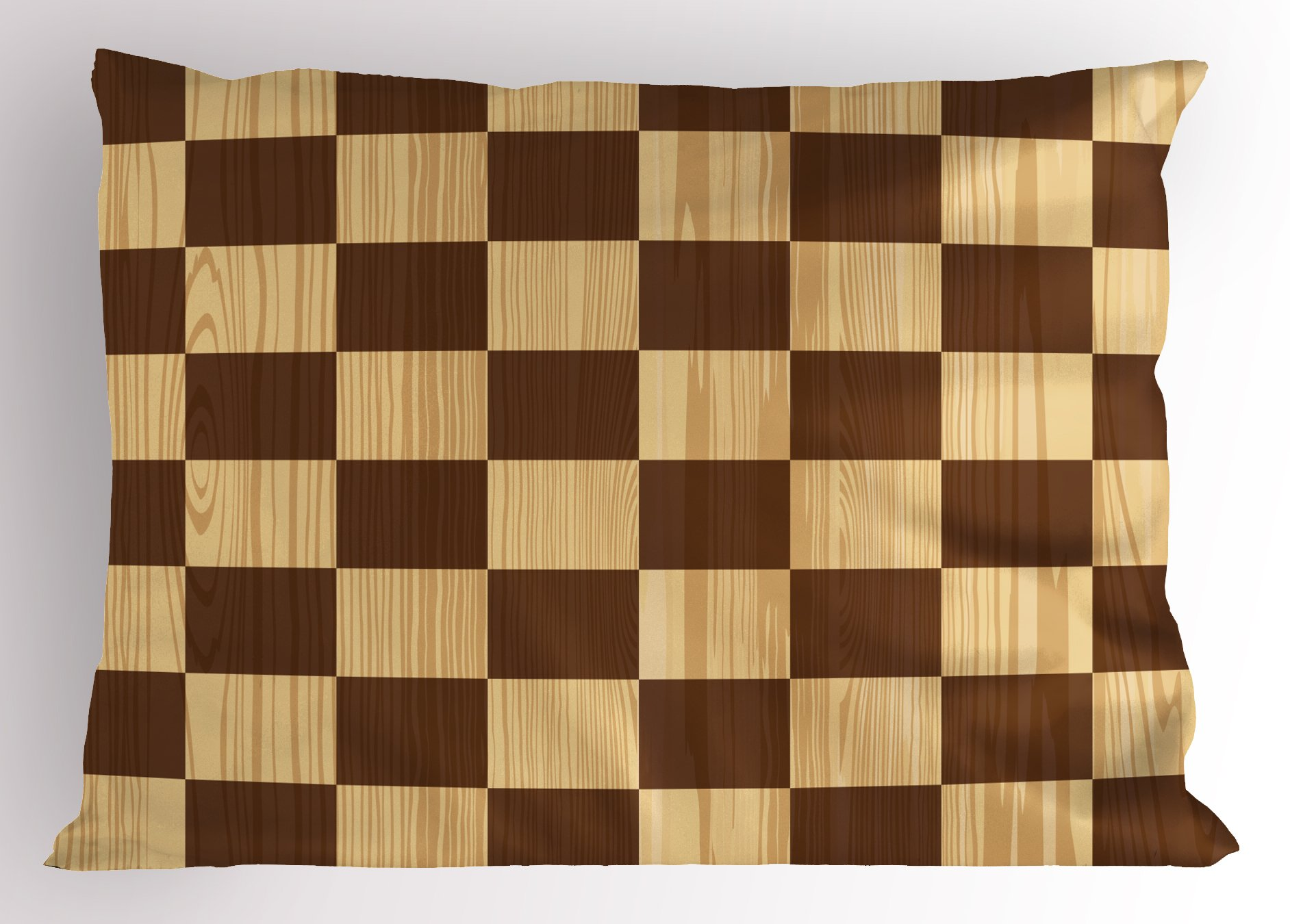 Ambesonne Checkered Pillow Sham, Empty Checkerboard Wooden Seem Mosaic Texture Image Chess Game Hobby Theme, Decorative Standard King Size Printed Pillowcase, 36 X 20 Inches, Brown Light Brown
