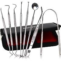 MOTYYA Dental Tools 8pcs, Professional Teeth Hygiene Kit Stainless Steel Dental Pick Cleaning Set,Tongue Scraper,Tooth…