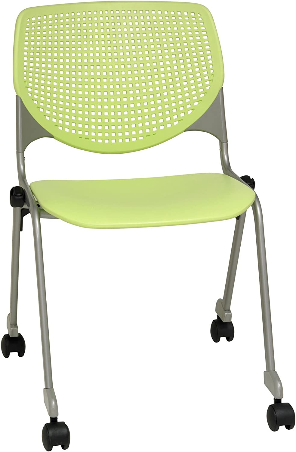 KFI Seating Kool Series Polypropylene Stack Chair with Perforated Back and  Casters, Lime Green Finish