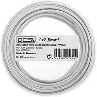 Câble d'Enceinte Blanc DCSk 10m - 2 x 2,5mm² | câble en cuivre OFC pour HiFi/Audio | câble de boîtier 99,99% cuivre avec Isolation