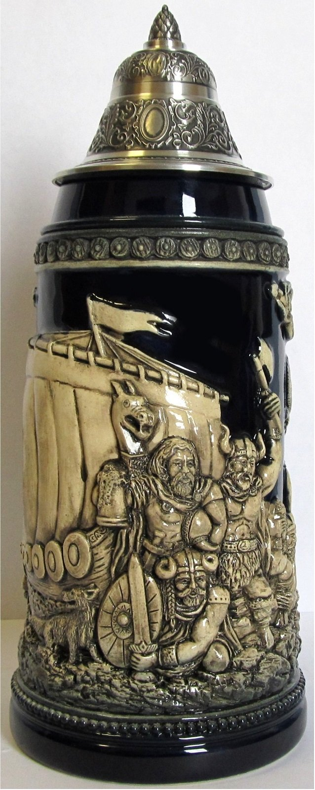 Leif Erikson Norse Explorer Discovers America LE German Relief Stein .75L Viking by Pinnacle Peak Trading Company