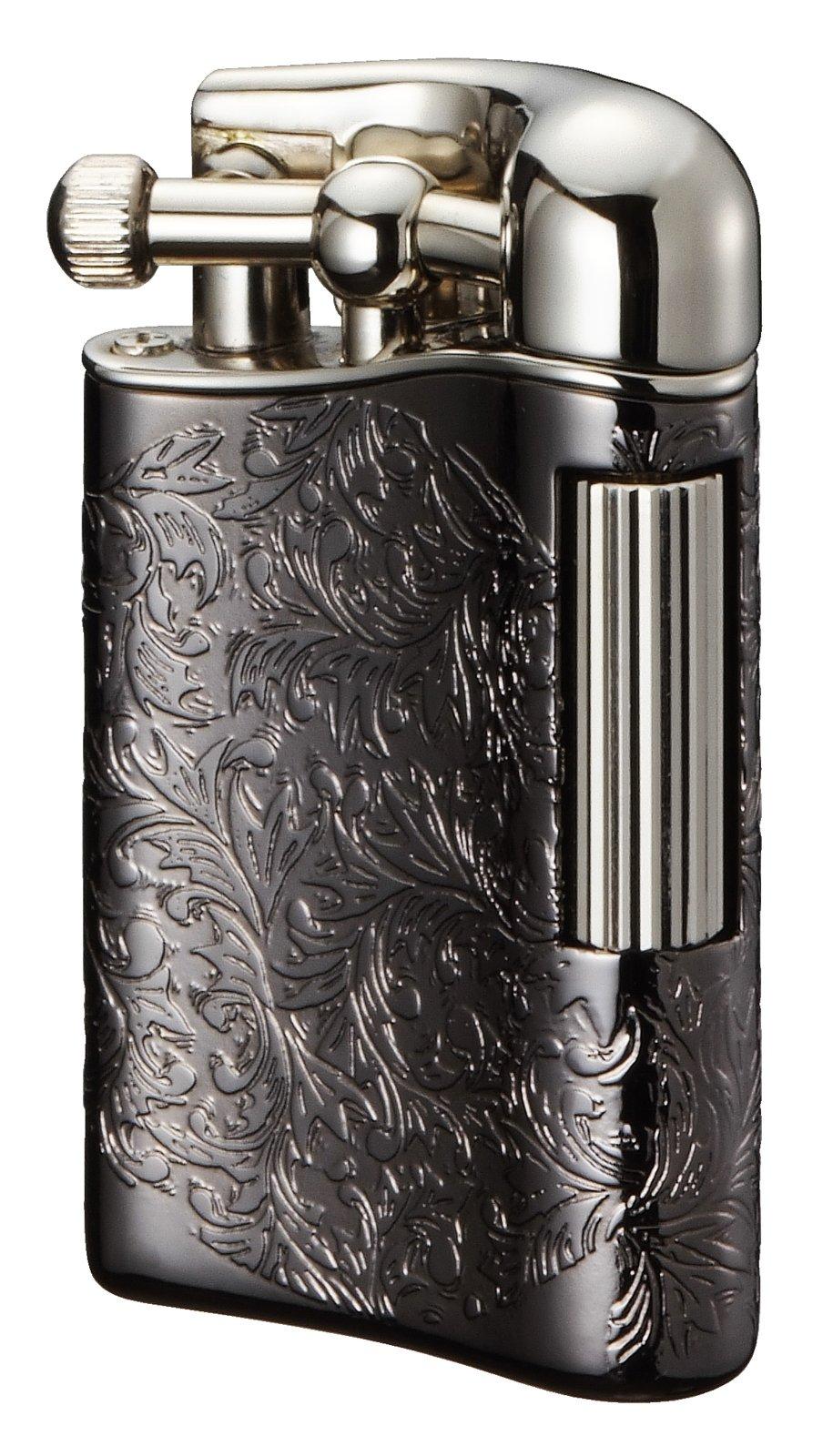 Sarome Flint Lighter for Pipe PSD12-28 Antique black arabesque / Silver