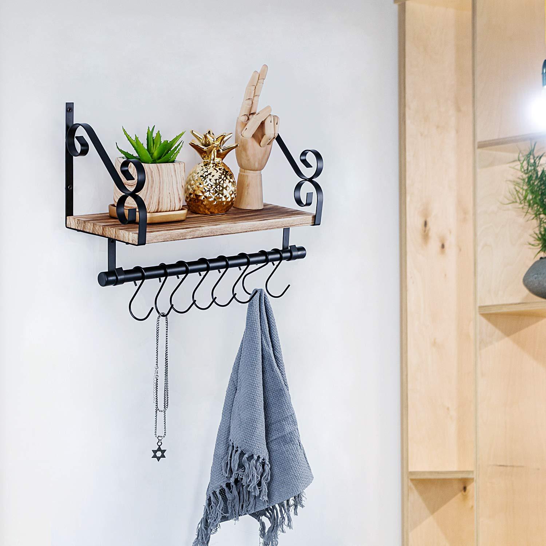 SIMMER STONE Mensola sospesa da Parete con Barra Porta Asciugamani e 8 Ganci Rimovibili Bagno e Ingresso in Legno Rustico mensola da Parete per Cucina