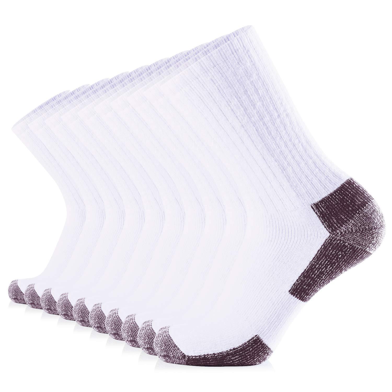 JOURNOW Men's Cotton Moisture Wicking Extra Heavy Cushion Sport Hiking Working Crew Socks 10 Pairs (10-13, White+Coffee) by JOURNOW
