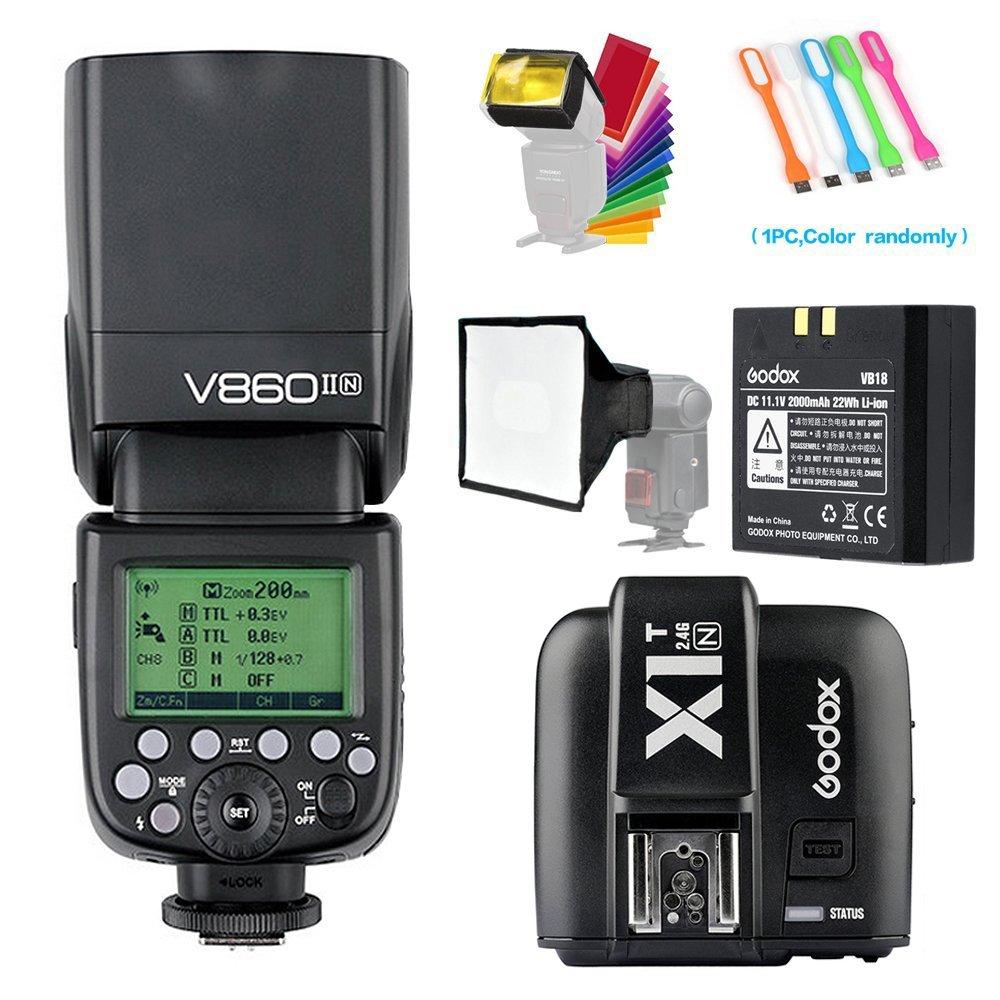Godox V860II-N i-TTL 2.4G HSS 1/8000s GN60 Li-ion Battery Camera Flash speedlite light & X1N Wireless Remote Trigger Transmitter for Nikon DSLR Cameras +15x20cm Softbox & Filter +USB LED Free gift