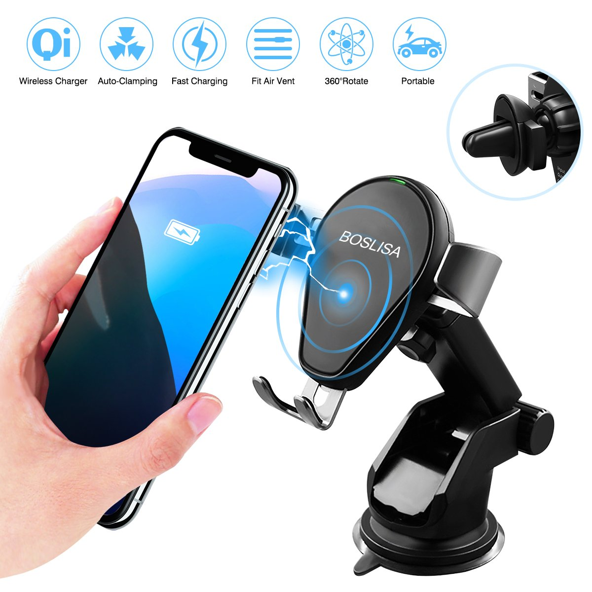 Galleon Wireless Car Charger Boslisa Qi Fast Charging Samsung Original S8 Plus Mount Phone Holder For Iphone X 8 Galaxy S7 Edge S6