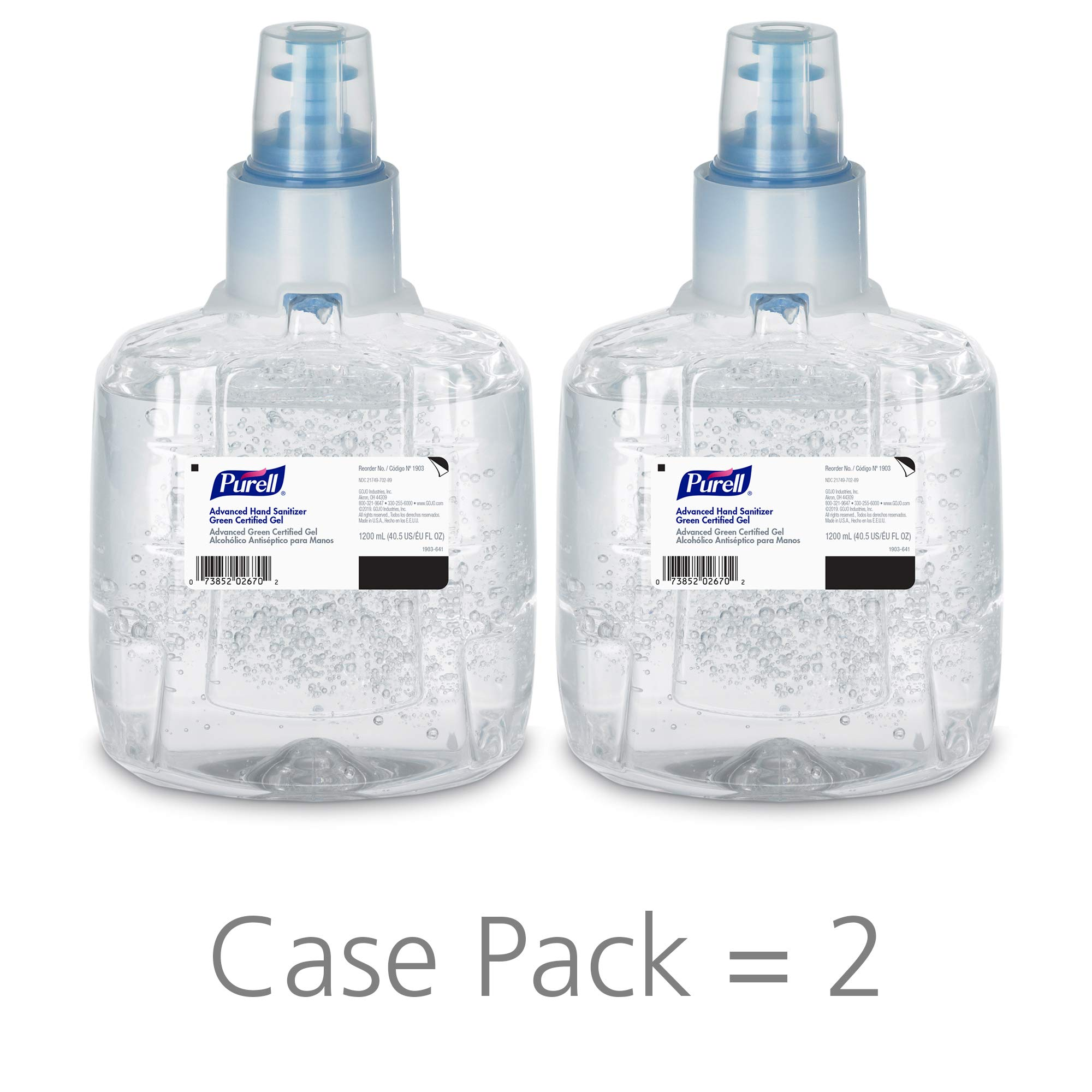 PURELL Advanced Green Certified Hand Sanitizer Gel, 1200 mL Sanitizer Refill for PURELL LTX Touch-Free Dispenser (Pack of 2)- 1903-02 by Purell