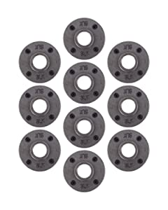 "Pipe Decor 1"" Malleable Cast Iron Floor Flange 10 Pack, Industrial Steel Grey Fits Standard One Inch Black Threaded Pipes Nipples and Fittings, Build Vintage DIY Furniture, Ten Plumbing Flanges"
