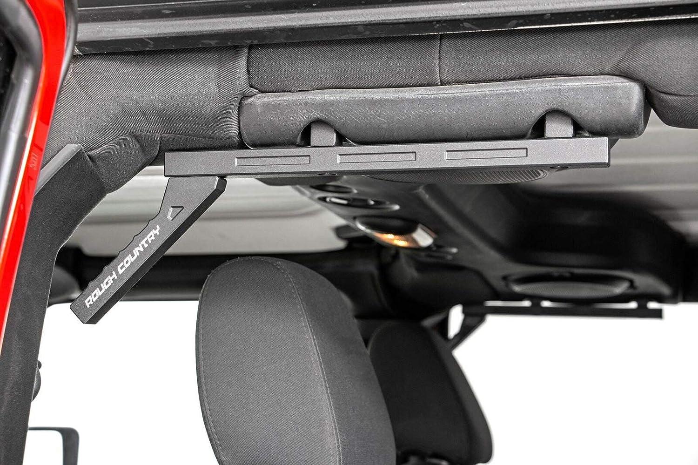 Set Compatible w// 2007-2018 Jeep Wrangler JK Black Geometric Style Rough Country 6509 Aluminum Grab Handles