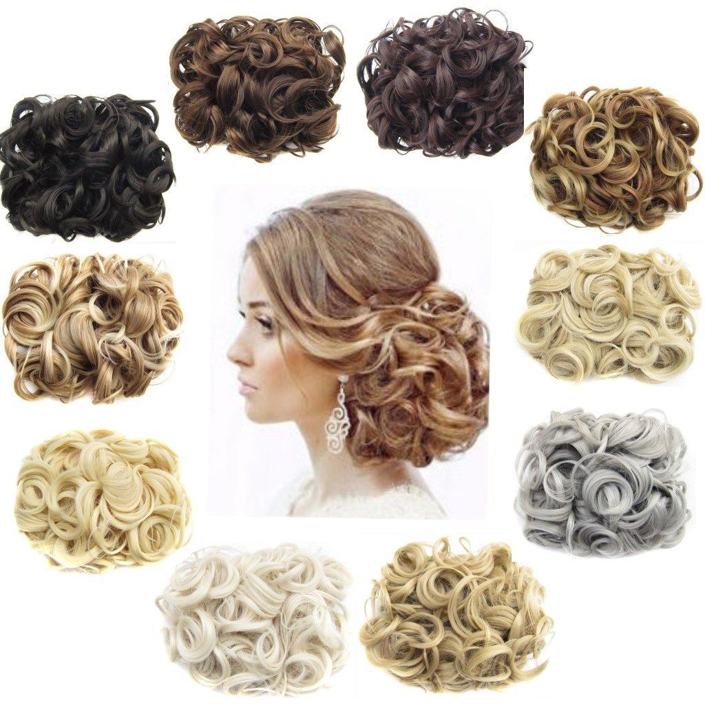 ani · Lnc 14colori corti da donna, capelli sintetici chignon grande panino due plastica pettine clip in extension Hairpiece Yueniu