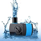 VicTsing 80 GPH (300L/H) Submersible Water Pump for Pond, Aquarium, Fish Tank Ultra Quiet Fountain Water Pump Hydroponics with 5.9ft (1.8M) Power Cord