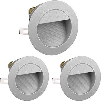 Parlat LED lámpara de Escalera lámpara empotrable en la Pared para el Exterior, Redondo, Blanca cálida, 230V, 3 UDS: Amazon.es: Electrónica
