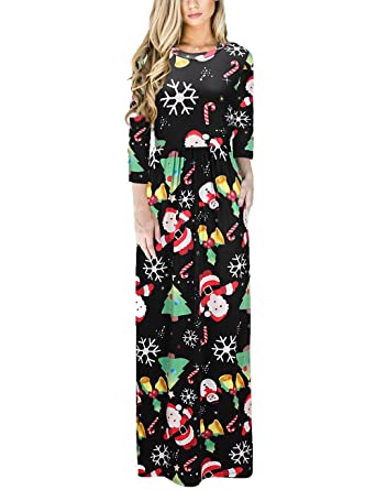 Ruiyige Damen Kleid Lang Maxi Kleid Weihnachts-Party-Kleid: Amazon ...