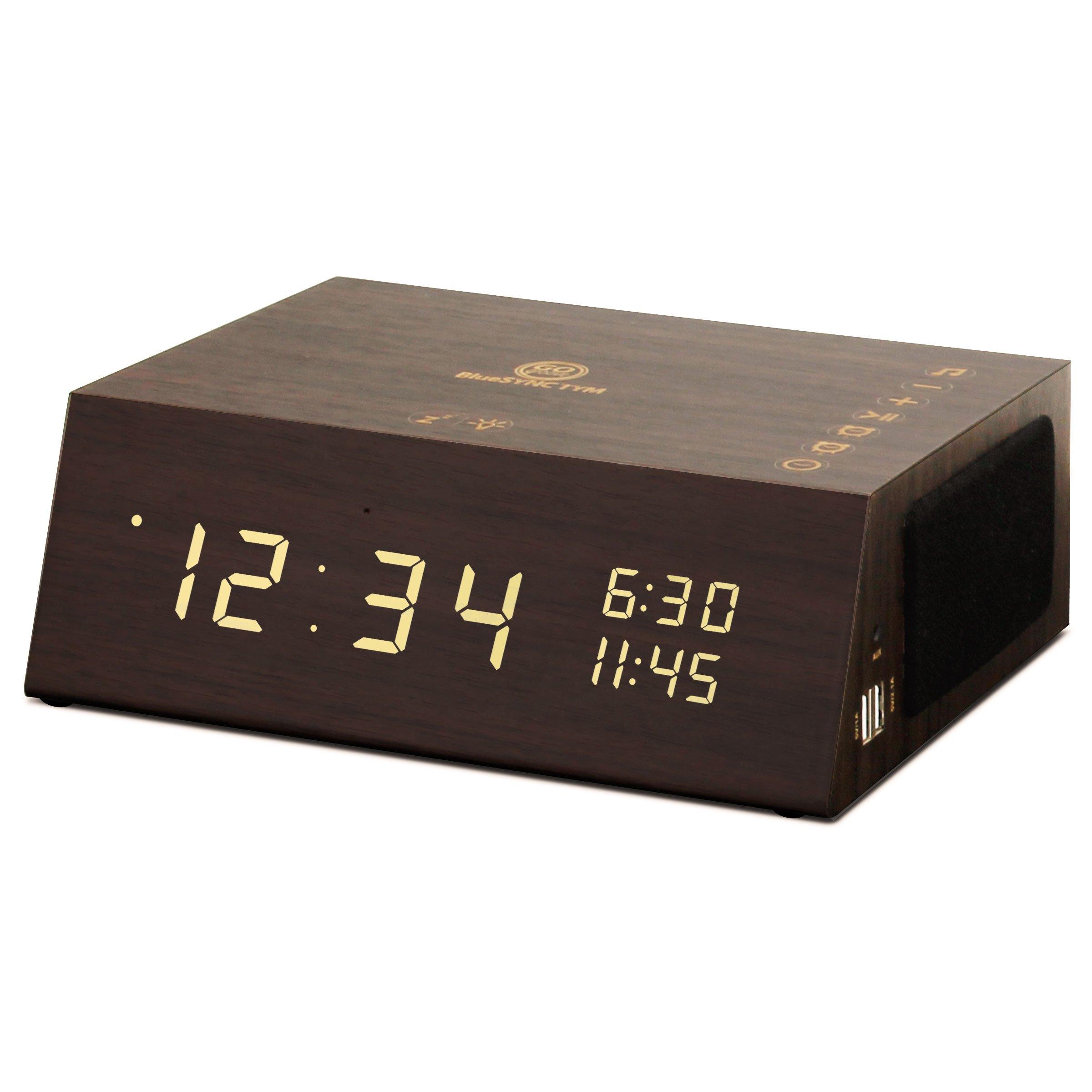 GOgroove Alarm Clock Radio Bluetooth Speaker TYM+ [2018 Edition] Wood Digital Alarm Clock LED with FM Radio, Battery Backup, USB Phone Charging Ports, 3.5mm AUX, Built-in Mic (Dark Finish)