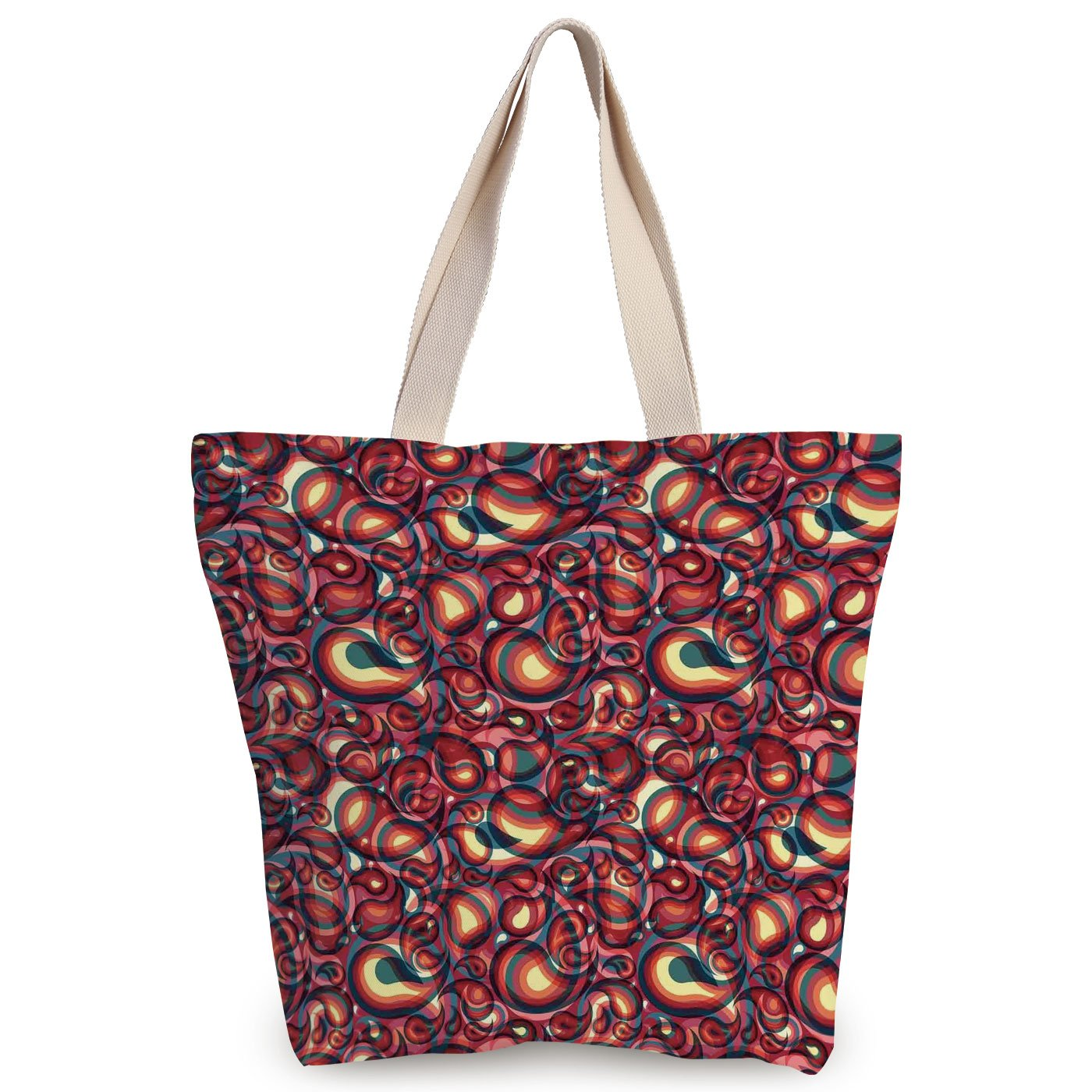 79aa778e24b Amazon.com: Personalized Canvas Tote Bag,Paisley,Modern Paisley ...