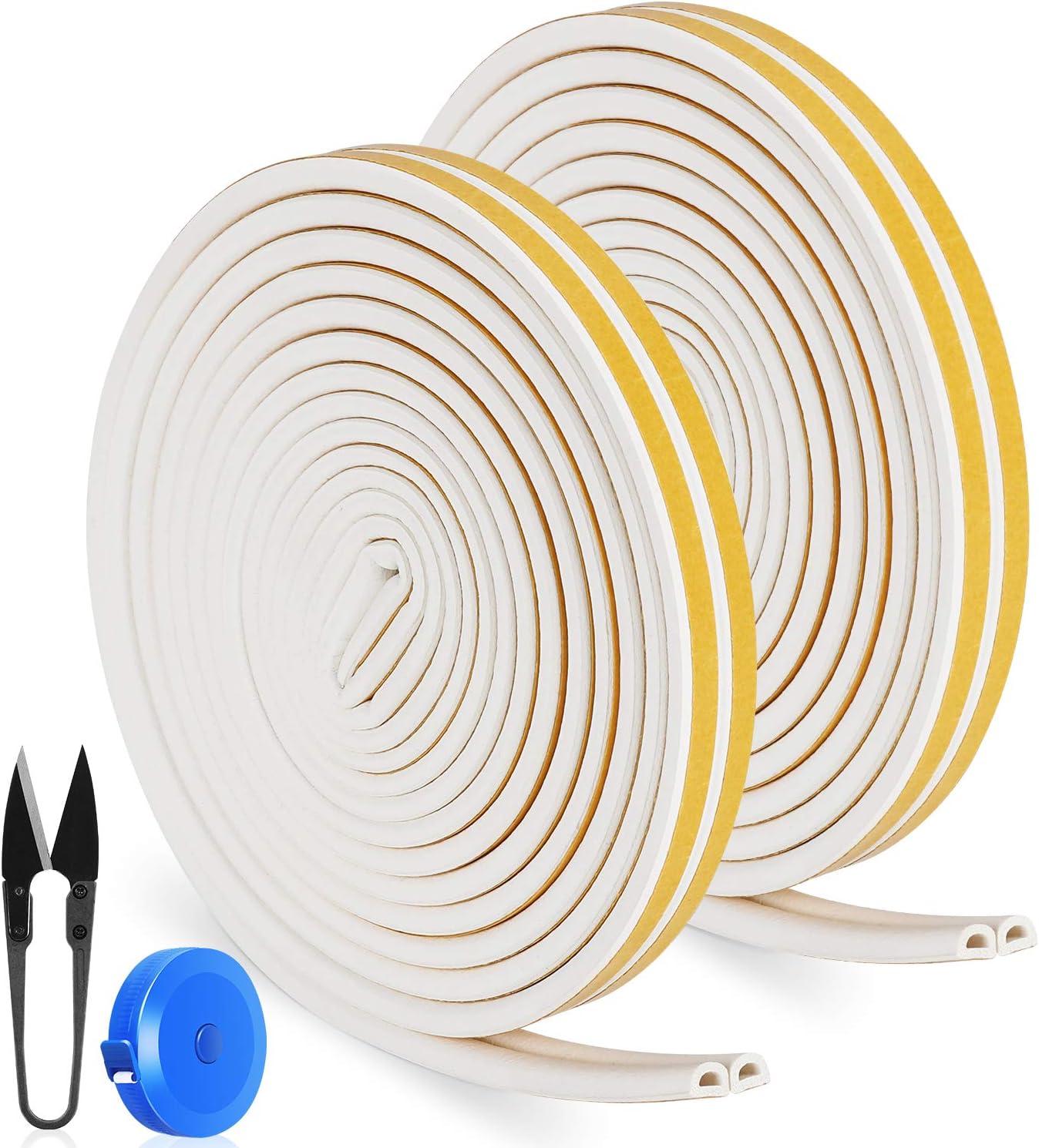 RATEL Tira de Sellado Junta de 16m/ 52.5ft, Goma burlete para Puerta Ventana Antigolpes Resistente al Agua Autoadhesiva con 1 tijera y 1 cinta métrica para bloquear grietas y huecos (Blanco)