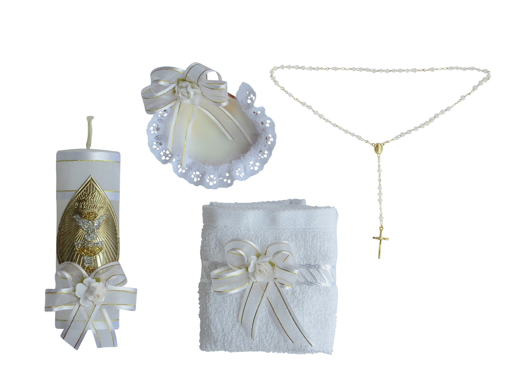 Baptism Kit Christening Catholic Handmade includes Rosary Towel Candle and Shell Kit De Bautizo Religious Gift