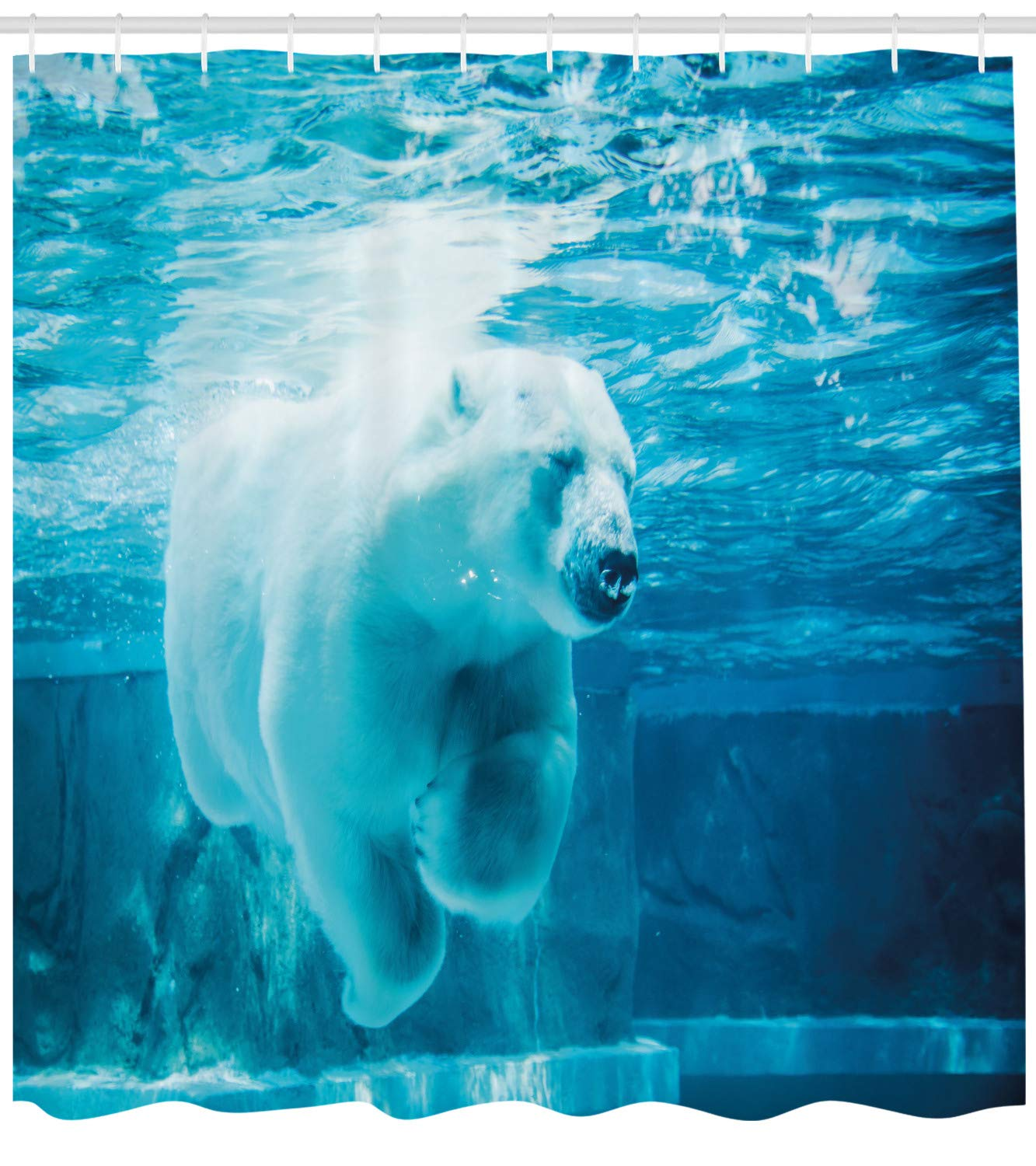 Ambesonne Bear Shower Curtain, Arctic Polar Bear Dipping into Water Swimming Ursus Maritimus Underwater View, Fabric Bathroom Decor Set with Hooks, 75 inches Long, Blue