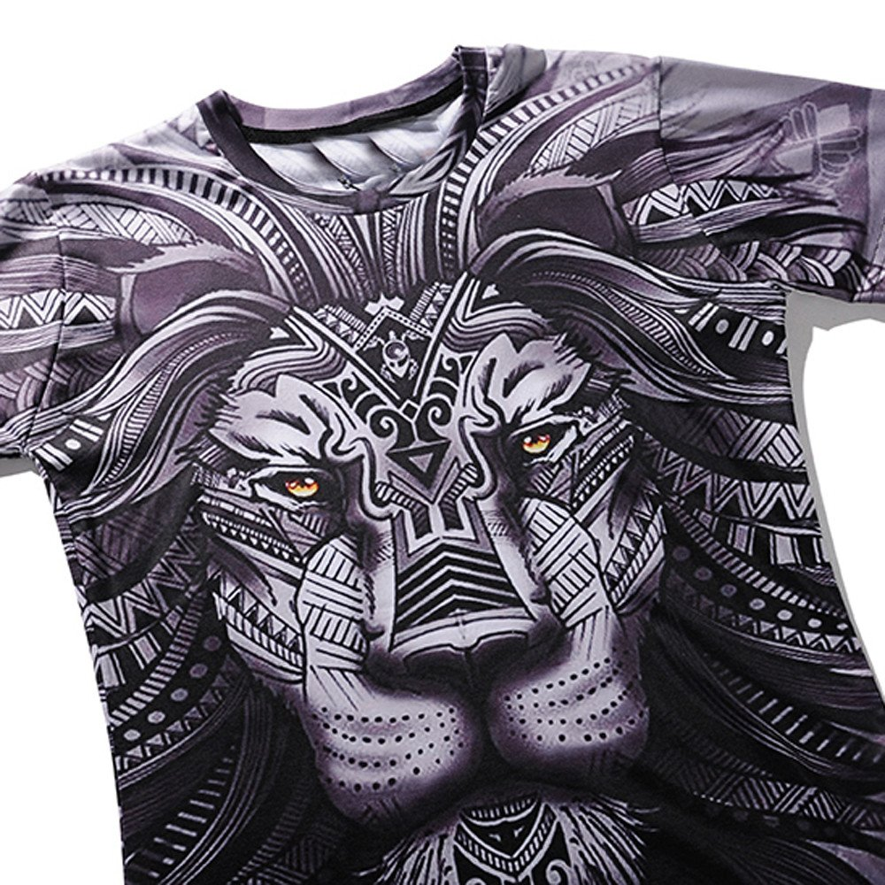 Fashion Print T Shirt Men Donci Cool 3D Lion Pattern Beach Casual Tees 2019 Summer Character Round Neck Comfort Basic Tops