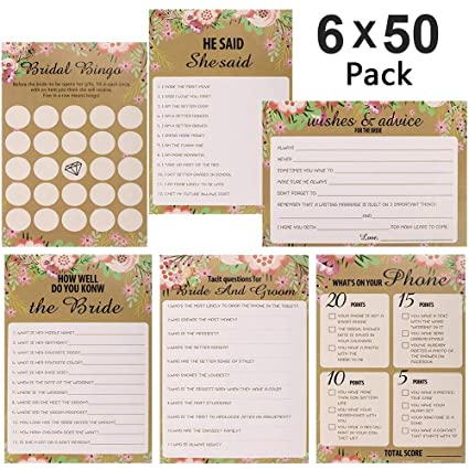 300 sheet floral bridal shower bingo games cards poao wedding game cards pack and party