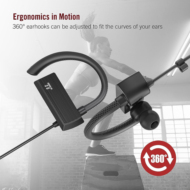 TaoTronics Bluetooth Headphones, Wireless in Ear Earbuds, Sports Earphones with 360 Adjustable Earhooks Renewed