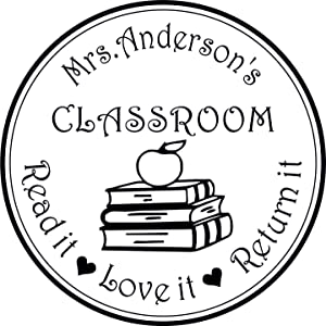 Teacher from The Classroom of Library, Book Stack, Apple Read it Love It Return It Personalized Name Round self Ink Stamp Personal Gift Stamp