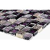 Rete mosaico mosaico piastrelle parete Crystal/Pietra/Resin Mix Lilla/Viola opaco vetro pietra naturale Ornament parete quadrato cucina bagno WC