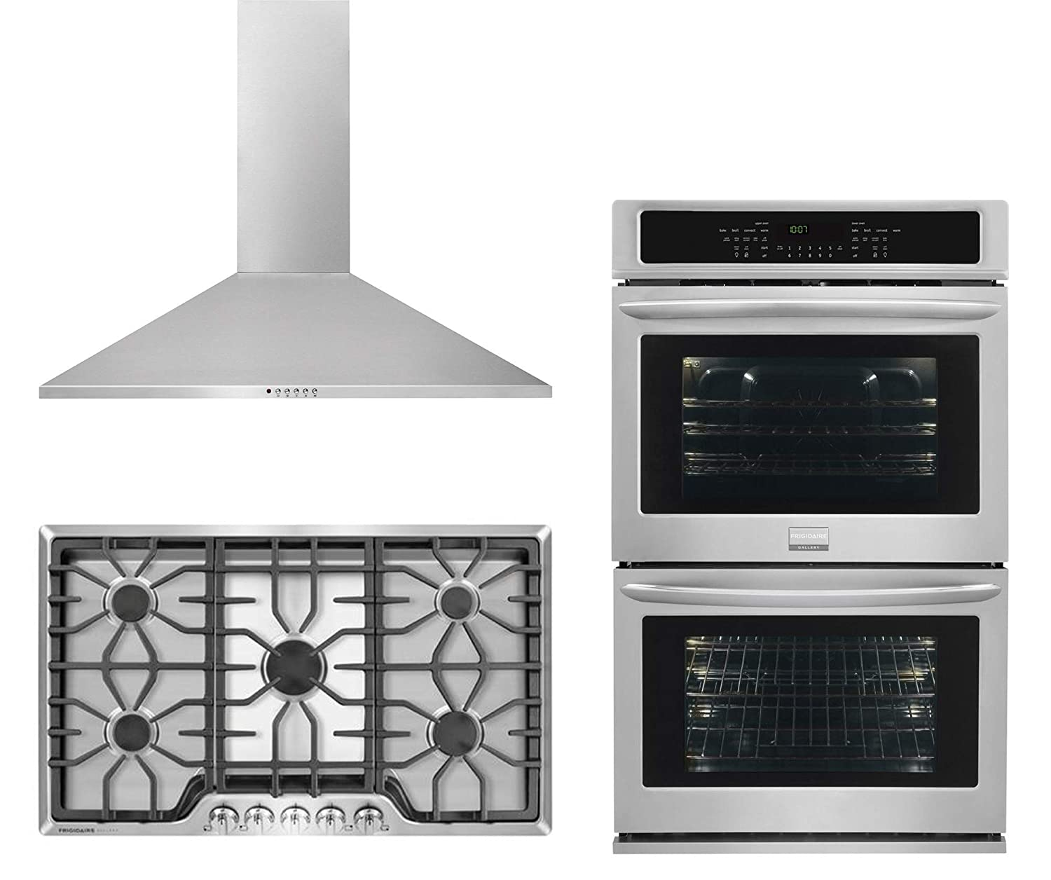 Frigidaire 3-Piece Stainless Steel Kitchen Package with FGGC3645QS 36 Inch Natural Gas Cooktop, FHWC3655LS 36 Inch Wall Mount Convertible Hood, FGET3065PF 30 Inch Electric Double Wall Oven