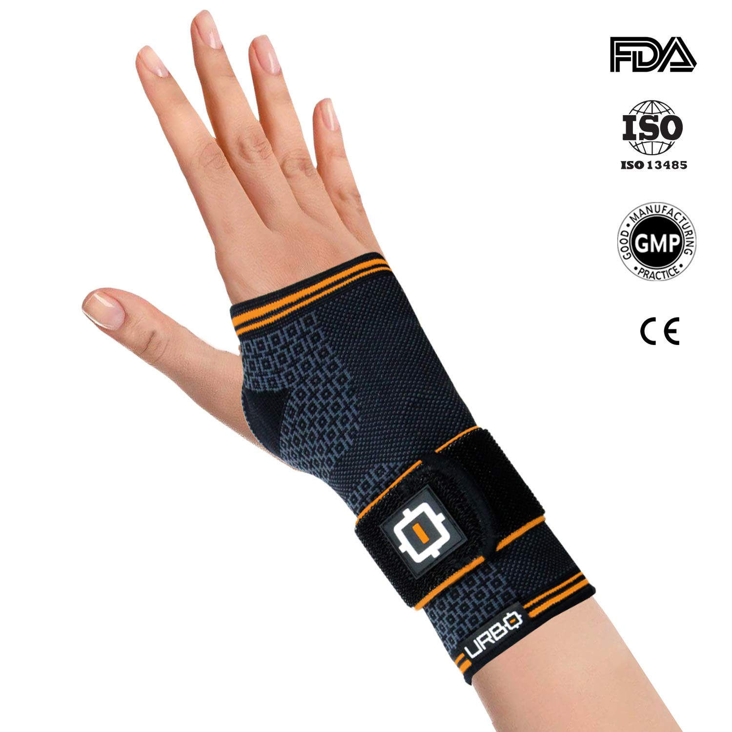 Urbo Wrist Compression Brace FDA & CE Approved with Ergonomic Support for Computer Use Problems Like Carpal Tunnel Syndrome, Mouse Wrist, Tendinosis & Other Repetitive Strain Injuries (Large, Right)