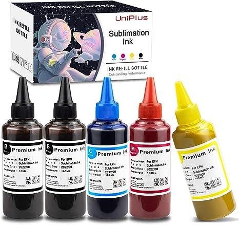 UniPlus 5X 100ml Tinta de Sublimación para C88 C88 + WF7710 ET2720 ET15000 ET2760 ET2750 ET4700 Se Utiliza para Transferencia de Prensa Térmica a ...