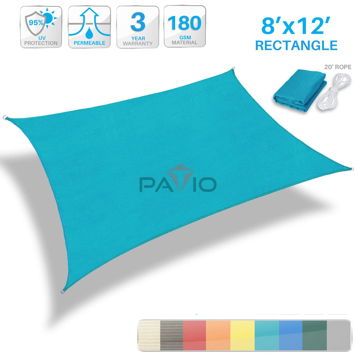 Patio Paradise 8' x 12' Solid Turquoise Green Sun Shade Sail Rectangle Square Canopy - Permeable UV Block Fabric Durable Outdoor - Customized Available by Patio
