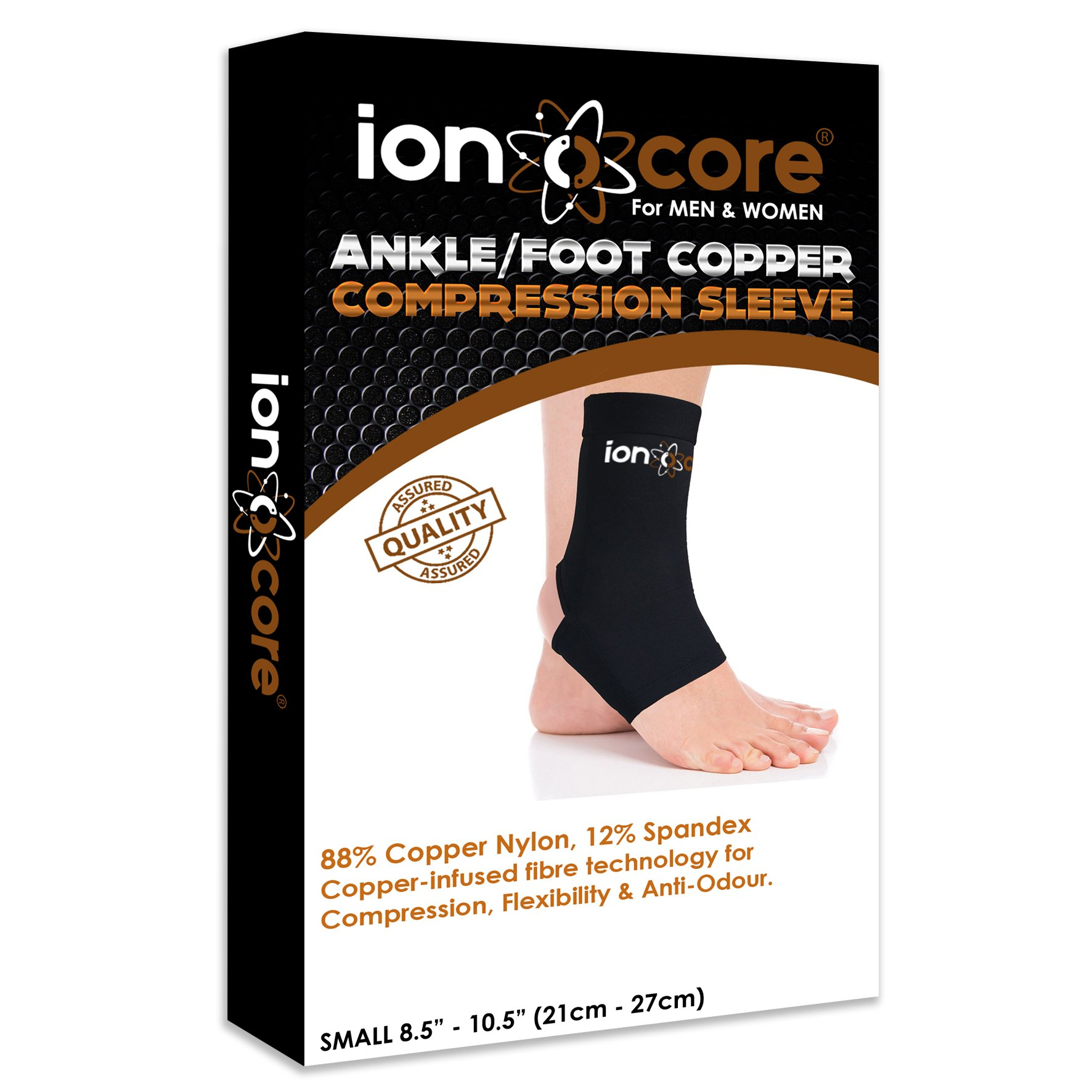 Copper compression ankle support sleeve for ankle, foot and arch support from ionocore®. Relief of plantar fasciitis, ankle pain, Achilles tendon pain & foot pain with open heel. Slimfit. (Small) by ionocore