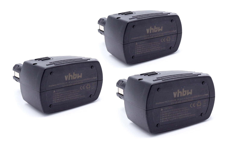 vhbw 3 x NiMH Akku 3000mAh (12V) für Elektro Werkzeug Hilti SB12, SF120-A, SFB105, SFB121, SFB125, SFB126, SFB126A wie SBP10, SBP12, SFB105, SFB125