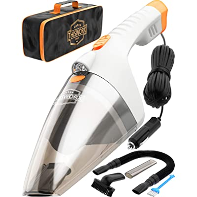 Car Vacuum Cleaner High Power - 110W 12v Corded auto Portable Vacuum Cleaner for Car Interior Cleaning - TWC-02 by ThisWorx for car (White): Automotive